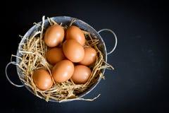 Eggs. On a blackbackground Stock Photo