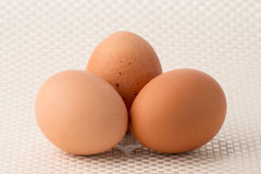 Eggs. Three eggs on white patterned background stock photography