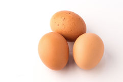 Eggs. Three eggs on white background stock photo