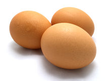 Eggs. Three eggs on white background Royalty Free Stock Photos