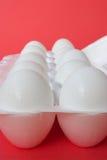 Eggs 5. A dozen fresh eggs still intheir carton on a red background stock photos