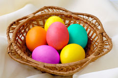 Eggs 5. Colorful Easter eggs in basket still-life stock photos