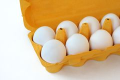 Eggs. In an eggtray stock photo