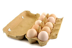 Eggs. Fresh eggs in open box isolated on a white background Stock Images