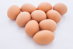 Eggs arranged in a triangle is isolated Royalty Free Stock Photos