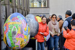 Eggs in art display at Rockefeller Center 20 April 2014 Royalty Free Stock Images