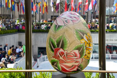 Eggs in art display at Rockefeller Center 20 April 2014 Royalty Free Stock Photos
