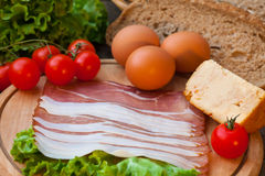 Eggs and bacon with cheese Royalty Free Stock Image