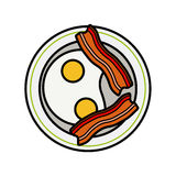Eggs and bacon. Four delicious fried eggs and Stock Images