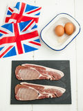 Eggs and bacon ingredients with british flag Stock Images