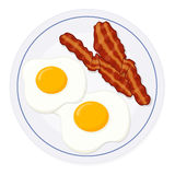Eggs and bacon on a plate. Isolated eggs and bacon on a plate; Breakfast Stock Photography