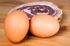 Eggs and bacon slice. For italian carbonara pasta Stock Image