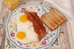 Eggs, Bacon and Toast. Plate of fried eggs bacon and toast on a plate Royalty Free Stock Images