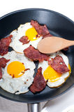 Eggs bacon and toast bread. Eggs sunny side up with bacon and toast typical english breakfast Stock Photography