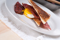 Eggs bacon and toast bread. Eggs sunny side up with bacon and toast typical english breakfast Stock Image