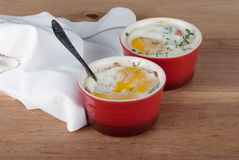Eggs baked with creamy sauce, mushrooms, ham, cheese and herbs i Stock Image