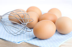 Eggs and Balloon Whisk Stock Photo