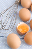Eggs and Balloon Whisk Stock Image