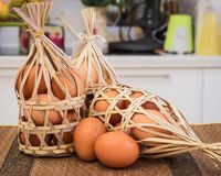 Eggs in the basket. Eggs in a bamboo basket Royalty Free Stock Photography
