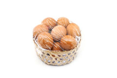 Eggs in bamboo basket Stock Image