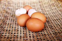 Eggs in the bamboo basket. Stock Images