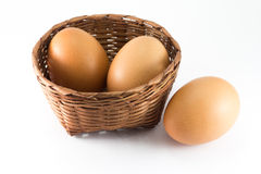 Eggs in bamboo basket Stock Photo