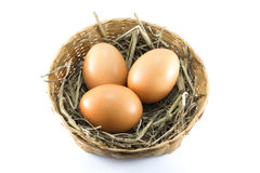 Eggs in bamboo basket Royalty Free Stock Photo