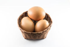 Eggs in bamboo basket Royalty Free Stock Photography