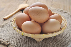 Eggs in bamboo basket. Royalty Free Stock Image