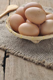Eggs in bamboo basket. Royalty Free Stock Images