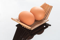 Eggs in a bamboo container Royalty Free Stock Image