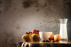Eggs ,Banana cake, milk  and apple with black coffee in the morn Stock Photo