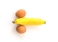 Eggs and banana composing a penis Stock Photography