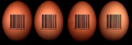 Eggs with barcode. Four eggs with black barcode on black Royalty Free Stock Images