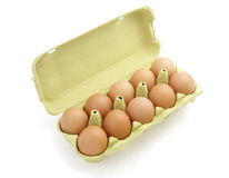 Eggs in basket 1. Close up of egg in egg box on white background with clipping path Royalty Free Stock Photo