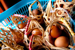 Eggs in a basket. Lots of eggs in baskets placed in a basket Royalty Free Stock Images