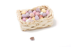 Eggs in a basket. Candy covered small chocolate easter eggs in basket concept isolated against white Royalty Free Stock Image