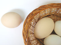 Eggs in a basket Stock Photo