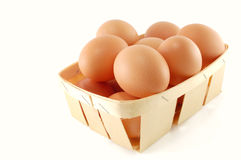 Eggs in the basket Stock Photos
