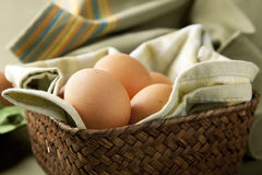 Eggs in a Basket. Brown eggs in a basket with green cloth Stock Photo