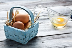Eggs on a basket Stock Photo