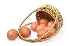 Eggs and basket Stock Images