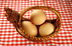 Eggs and basket. All the eggs on the same basket royalty free stock photography