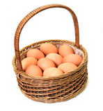Eggs in a basket. Eggs in a wood basket on a white background Stock Photography