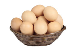 Eggs in a basket. Natural eggs in a basket isolated on white Royalty Free Stock Images