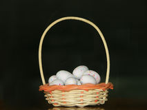 Eggs in basket. Putting all one's eggs in one basket Stock Photos