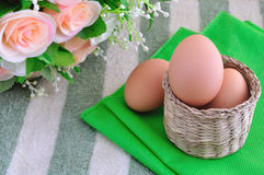 Eggs on Basket Royalty Free Stock Images