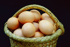 Eggs in a basket on a black Royalty Free Stock Photography