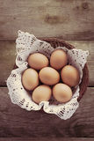 Eggs in basket. Brown eggs in basket, on wooden table Stock Photography