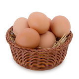 Eggs in a basket. Bunch of eggs in a basket Royalty Free Stock Images